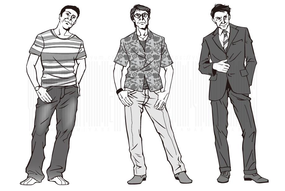 Yum Yum Diner宮部珠江ギャラリー 男性向けファッション指南イラスト